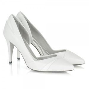 White Cut Out Pointed Court Shoe