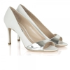 White Open Toe Metallic Strip Shoes