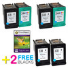 "HP 338 Compatible High Capacity Black x2 & 344 Compatible High Capacity Compatible Colour x2 Ink Cartridges + 50 Sheets 240g 4""x6"" Photo Paper"