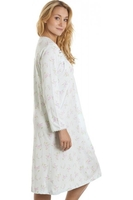 Nightshirts & Nightgowns  - Classic Mint Green And Pink Floral Long Sleeve Nightdress