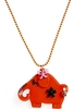 Women's Orange Elephant Design Necklace