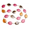 Women's Pink And Brown Flat Bead String Necklace