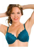 Lingerie & Sexy Clothing|Bras  - Teal Green Push Up Padded Underwired Bra