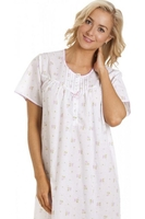 Nightshirts & Nightgowns  - Womens Pink Short Sleeved Floral Nightdress
