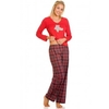 Lingerie & Sexy Clothing|Lingerie & Nightwear|Women's Womens Teddy Motif Cotton Long Sleeved Red Pyjama Set