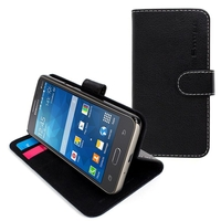 Accessories for Mobile Phones  - Snugg Galaxy Core Prime Flip Case in Black Leather