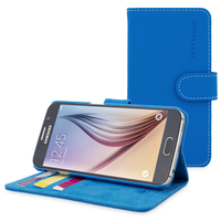 Accessories for Mobile Phones  - Snugg Galaxy S6 Flip Case in Electric Blue Leather