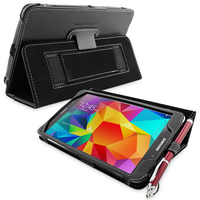 Accessories  - Snugg Galaxy Tab 4 8.0 Case Cover and Flip Stand in Black Leather
