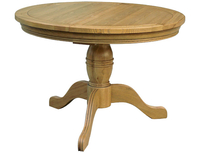 Tables  - French Style Oak 3ft 7  Round Extending Table With Pedestal B