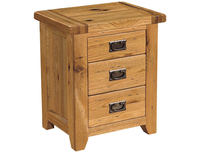 Tables  - Rustic Oak Three Drawer Bedside Cabinet