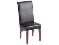 Chairs  - Solid Dark Mango Leather Dining Chair