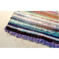 Camping & Trekking|Bedroom Rugs  - Traditional Indian Rag Rug -Blue Mix