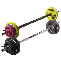 Gym & Exercise Equipment  - Physical Company Pump Set (1400x30mm Hollow Bar, 2x1.25kg, 2x2.5kg, 2x5kg Discs, 2x30mm Spring Collars)