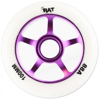 Wheels & Tyres & Tubes  - 5 Spoke Large Core White Hub Purple Core Scooter Wheel 100mm