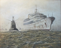 "Humanities, Arts & Music  - Sand painting - """"S.S. Canberra returning to Portsmouth from the Falklands"""" by Environmental Sand Artist Brian Pike, by Sandpainter Brian Pike"