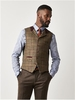 Suits & Formal Wear Gibson Green and Burgundy Check Waistcoat Sage