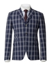 Blazers Gibson Navy With White Check Jacket Navy