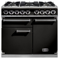 Cookers  - FALCON F1000DXDFBLCM 98600 100cm Deluxe Range Cooker, Black Finish