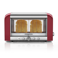 Magimix 11528 VISION TOASTER 2-Slice Vision Toaster,  Glass Window,  Stainless S / Red