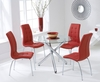 Dining Room Suites Odessa Glass Dining Table Set with 4 Chairs (Chair Colour: Red)