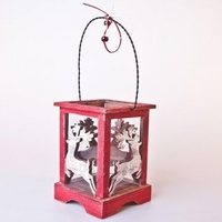 Christmas Decoration  - Rustic Reindeer Wooden Lantern