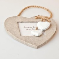 Wall decorations  - White Wash Heart Detail Hanging Photo Frame