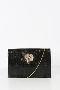 Liquorish Shimmery Black Clutch With A Gold Capricorn Head