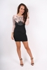 Dresses|Mini Blake Black And Blush Mesh Sleeved Embellished Mini Dress