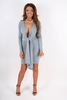 Dresses|Mini Luxe Handmade Grey Wrap Plunge Mini Dress