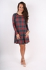 Dresses|Mini Red and Black Tartan Long sleeved swing dress