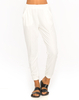 Casual Trousers|Women's|Casual Motel Zoe High Waisted Track Pants in Honeycombe White Spandex