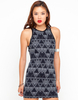 Casual Trousers|Casual Motel Zola PU Trim Bodycon Dress in Black Pyramid Print