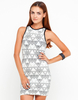 Casual Trousers|Casual Motel Zola PU Trim Bodycon Dress in Ivory Pyramid Print