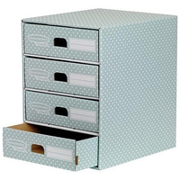 Archiving & Storage|Files|Filing Cabinets & Storage racks  - Bankers Box by Fellowes 4 Drawer Unit Fastfold Recycled FSC A4 Green/White Ref 4481701