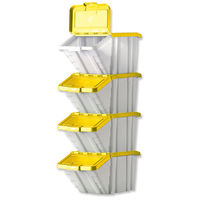 Archive Boxes|Adhesive Tapes & Glues & Accessories  - Storage Container Bin 50L 30kg Load W390xD630xH340mm White and Yellow Lid [Pack 4]