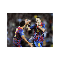 Football  - Andres Iniesta Signed Barcelona Photo celebrating with Xavi