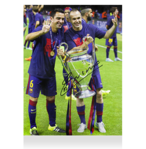 Sports Memorabilia  - Andres Iniesta Signed Barcelona Photo: Four-Time UEFA Champions League Winner With Xavi