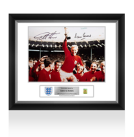 Sports Memorabilia  - Sir Geoff Hurst & Martin Peters Official England Signed and Framed Photo: 1966 Winners