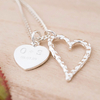 Engraved Double Heart Pendant Necklace - Initials & Date
