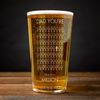 Personalised Pint Glass - Dad,  You
