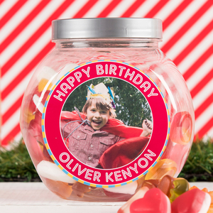 Personalised Gifts  - Photo Upload Haribo Sweet Jar - Happy Birthday Red