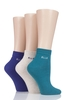 Men's Socks Ladies 3 Pair Elle Plain Comfort Cuff Cotton Socks with Hand Linked Toes
