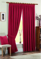 Curtains & Blinds  - Chenille Spot Red Lined Curtains