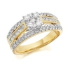 Women's Jewellery 9ct Gold 1 Carat Diamond Triple Band Cluster Ring - D9219-O