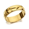 Men's Jewellery 9ct Gold Diamond Cut Leaf Wedding Ring - 6mm - R4221-Y