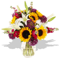 Flowers  - British Lily & Sunflower Bouquet - flowers