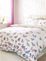 Home Accessories  - 100% Cotton super soft bedroom butterfly print white duvet set Wh - White