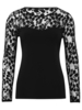 Womens Lace sleeve black jersey party top