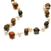 Peach pearls,  green and brown jasper necklace