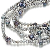 Silver and black baroque pearl long necklace